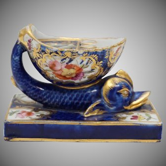 Antique, Old Paris,  Figural Dolphin, Porcelain Inkwell & Pen Stand, Rare