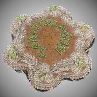 1902,  Rare, Saratoga, NY,  Mohawk,  Beaded Pin Cushion