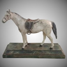 Handsome Vintage Cast Bronze Painted Horse