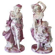 Very Large Pair of Antique Porcelain Figures