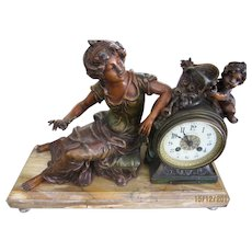 19th Century French Marble Clock with Painted Spelter Figure by Auguste Moreau