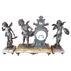 19th Century French Marble Clock with Marble and Spelter Garnitures by Auguste Moreau