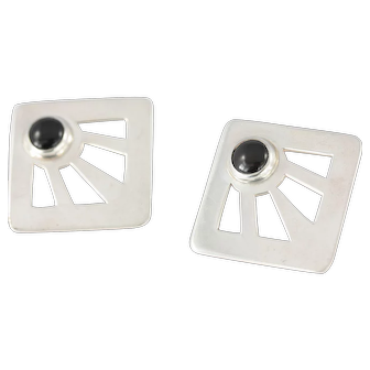Large 1980s Sterling Silver and Onyx Square Earrings