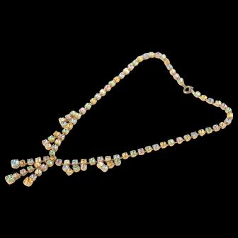 Vintage 1950s Pastel Rhinestone Swag Necklace Multi Colour Rainbow