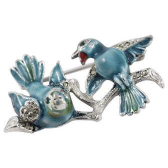 Vintage 1950s Enamel and Marcasite Double Bluebirds Brooch
