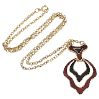Vintage AVON Gold Tone Red and Black Enamel Necklace with Matching Bracelet