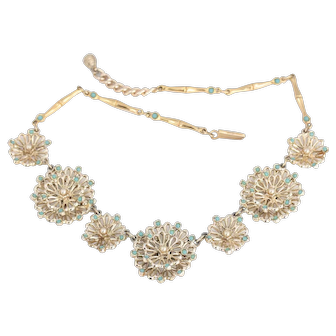 1950s Modernist Flower Garland Necklace with Faux Turquoise and Pearls