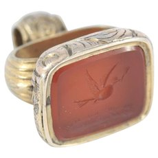 Antique Pinchbeck Carnelian Intaglio Seal Fob with Dove and Olive Branch Design
