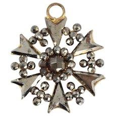 Antique Victorian Cut Steel Starburst Pendant