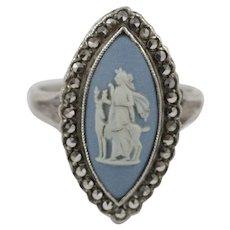 Early Vintage Wedgwood Blue Jasperware Marcasite Sterling Silver Ring
