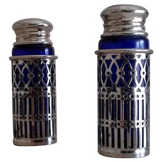 Early XX century, Silver Plate and blue cobalt Salt and Pepper shakers