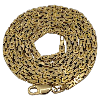 "Heavy 14K Yellow Gold Byzantine Chain Necklace - 24"" Long"