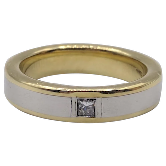 Diana Solid Platinum & 18K Yellow Gold Ring w/ .25 Carat Princess Cut Diamond