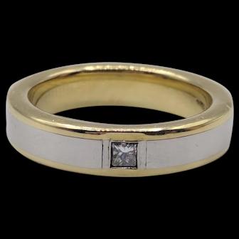 Diana Solid Platinum & 18K Yellow Gold Ring w/ .25 Carat Princess Cut Diamond