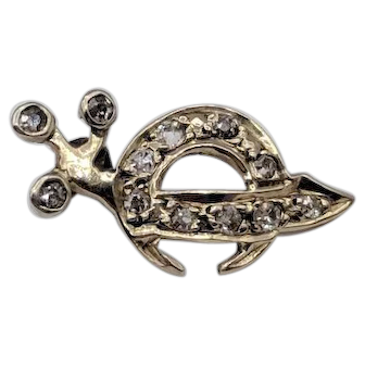 Diamond Shriners Masonic Lapel Pin Brooch set in 14K White Gold - Scimitar Sword