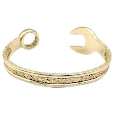 Vintage 9K / 9ct Yellow Gold Combination Wrench Spanner Cuff Bracelet