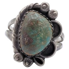 Freeform Green Turquoise Sterling Silver Southwestern Native American Ring