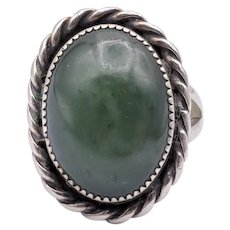 Green Nephrite Jade Sterling Silver Southwestern Ring
