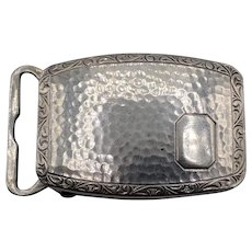 Sterling Silver Belt Buckle - Hammered Finish with Filigree Edge
