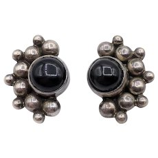 Taxco Carsi Sterling Silver & Onyx Clip-On Earrings