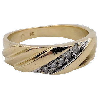 Men's 5 Diamond & 14K Yellow Gold Diagonal Ring