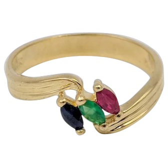 Sapphire, Emerald & Ruby Marquise Bypass Ring set in 14K Yellow Gold