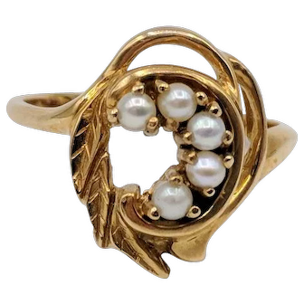 14K Yellow Gold Cultured Seed Pearl Ring