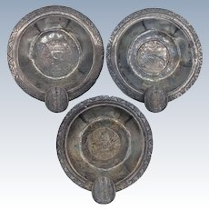 3 pc. Casa Welsch 900 Coin Silver Peruvian Etched Ashtrays