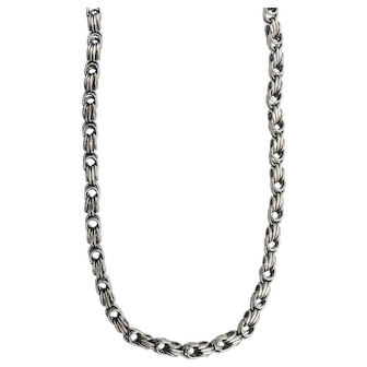 "10K White Gold Byzantine Chain Necklace - 1/4"" Wide & 26.5"" Long"