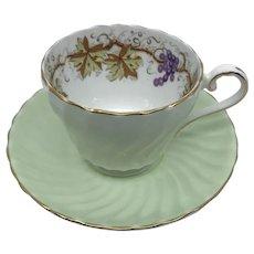 Aynsley Swirl Mint Green Grape Vine Teacup and Saucer