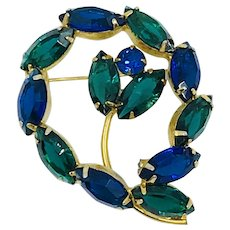 Beautiful Vintage Blue and Green Rhinestone Brooch