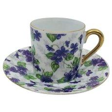 Vintage Inarco Violets Demitasse Cup and Saucer