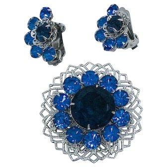Gorgeous Blue Rhinestone Brooch Set