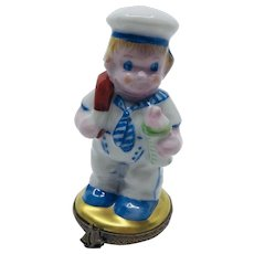 Little Sailor Boy Limoges Trinket Box