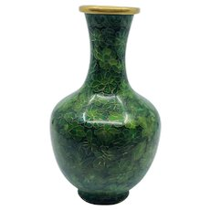 Chinese Green and Brass Cloisonne Vase - Red Tag Sale Item