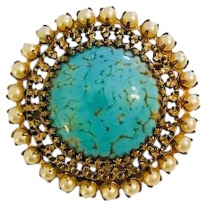 Simulated Turquoise and Simulated Pearl Brooch