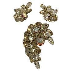 Vintage Yellow Rhinestone Set, Brooch, Earrings