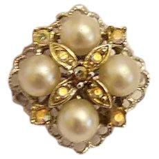 Sarah Coventry Imitation Pearl and Rhinestone Ring