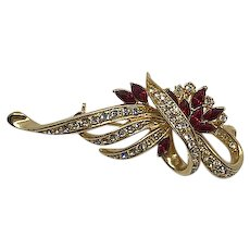 Gorgeous Vintage Red and Clear Rhinestone Brooch