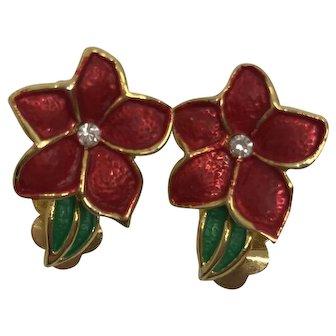 Lovely Vintage Poinsettia Clip Earrings