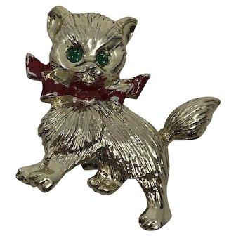 Vintage Gerry's Kitten Christmas Brooch