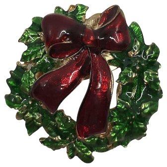 Vintage Enamel Christmas Wreath Brooch