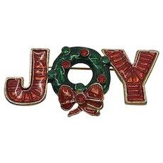Vintage JOY Christmas Brooch