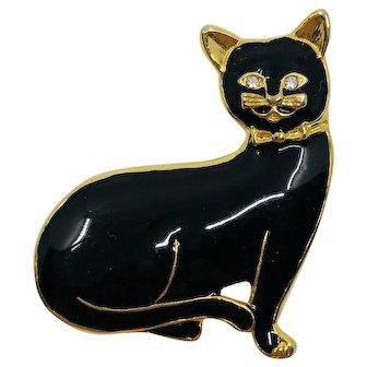 Vintage Black Enamel Cat Brooch
