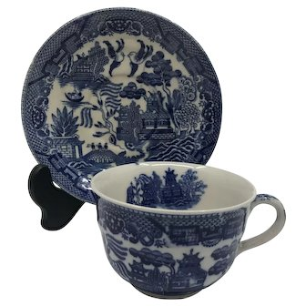 Vintage  Blue Willow Teacup and Saucer