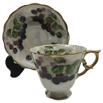 Gorgeous Blackberry June Teacup and Saucer