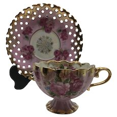 Very Fine L and M Teacup and Saucer