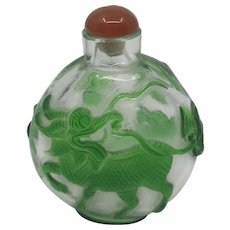 Stunning Chinese Peking Carved Glass Snuff Bottle