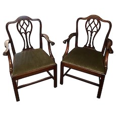 A Pair of Georgian English Mahogany Chippendale Transitional Armchairs - Circa 1800
