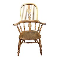 Victorian Broad Arm Hoop Back Oak Windsor Chair